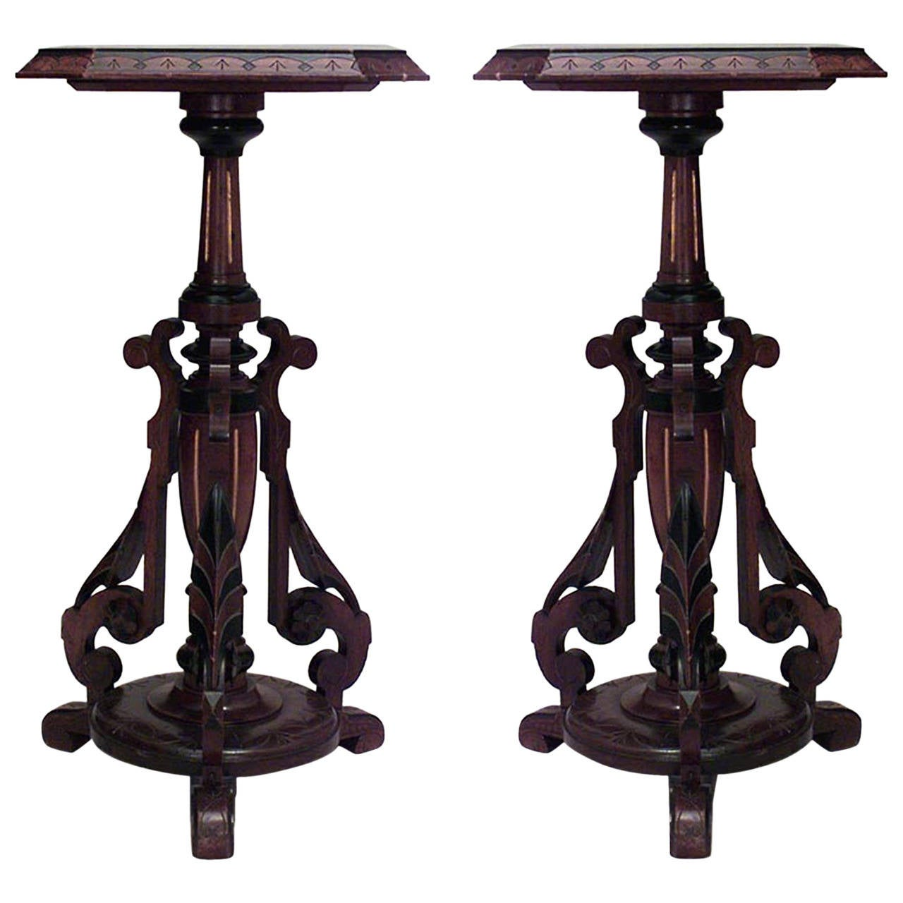 Pair of th c american eastlake walnut pedestals for