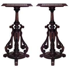 Pair of 19th c. American Eastlake Walnut Pedestals