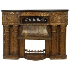 Turn of the Century Austrian Secessionist Embossed Brass Fireplace