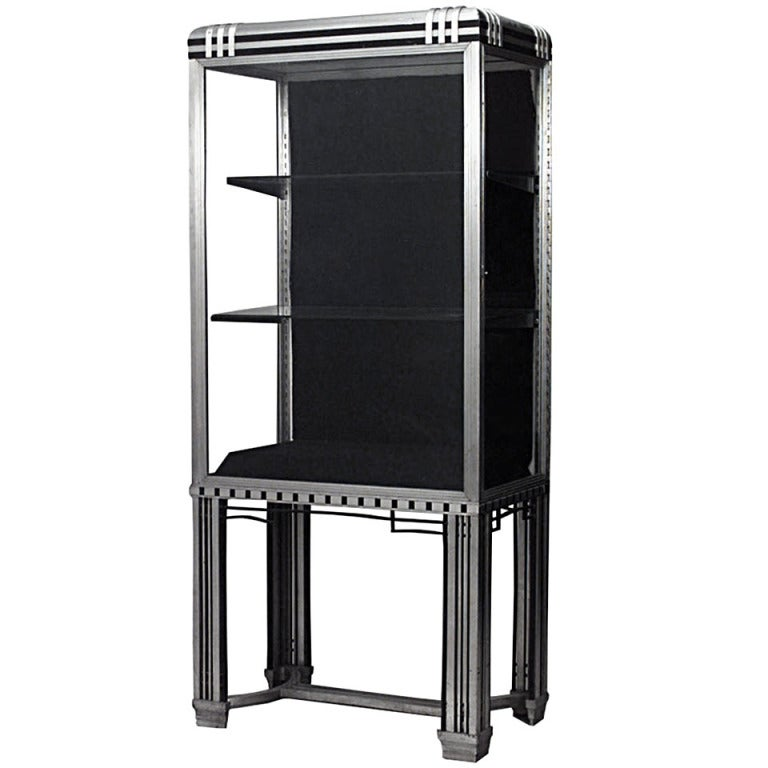 art deco steel and glass vitrine by frye and bouvy for. Black Bedroom Furniture Sets. Home Design Ideas