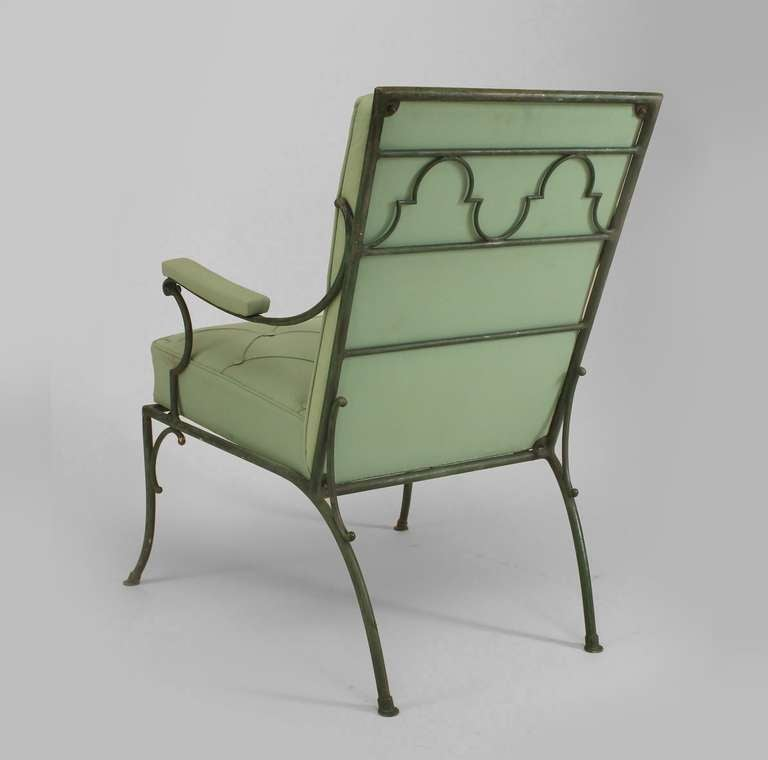 Pair of fine french s green painted iron arm chairs at