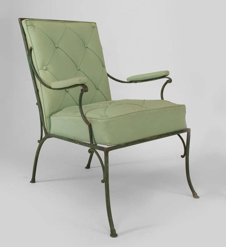 Pair Of Fine French 1940s Green Painted Iron Arm Chairs