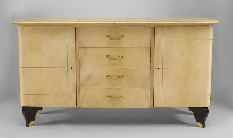 French Art Deco Parchment and Lacquer Sideboard by Adnet 4