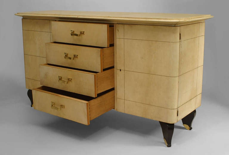 French Art Deco Parchment and Lacquer Sideboard by Adnet 3