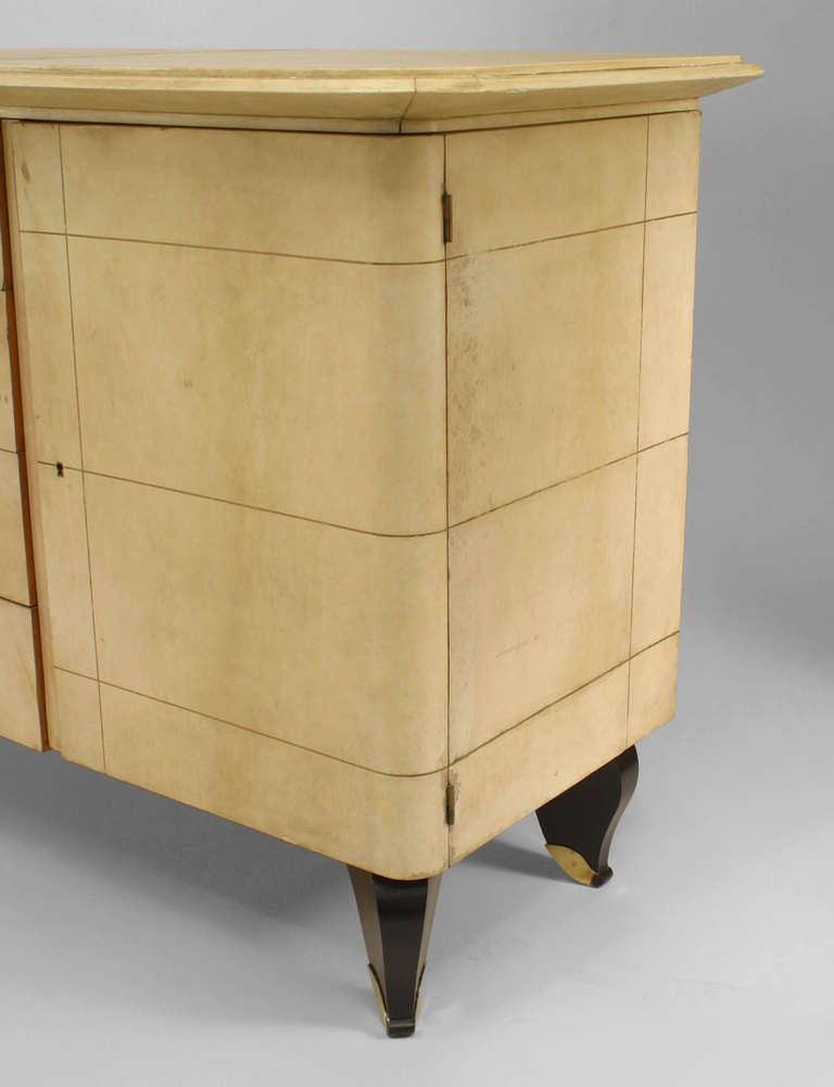 French Art Deco Parchment and Lacquer Sideboard by Adnet 5