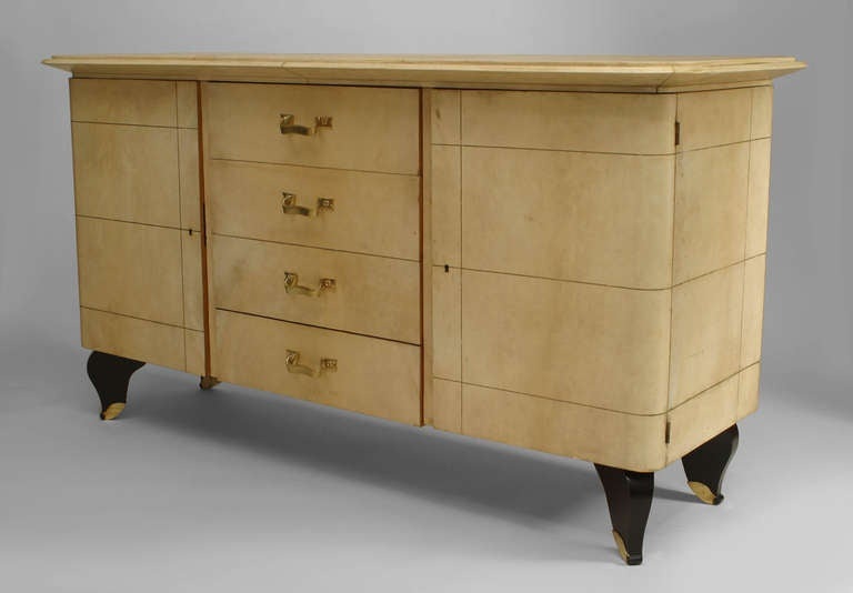 French Art Deco Parchment and Lacquer Sideboard by Adnet 2