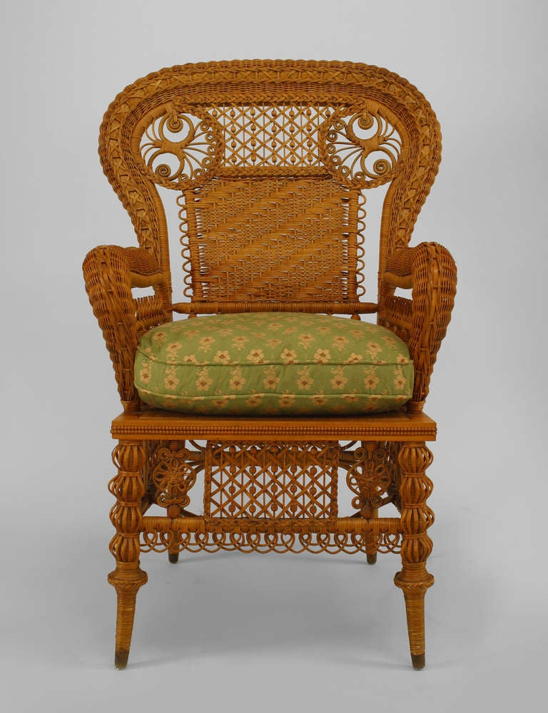 American victorian natural wicker arm chair by heywood for American rattan furniture manufacturer
