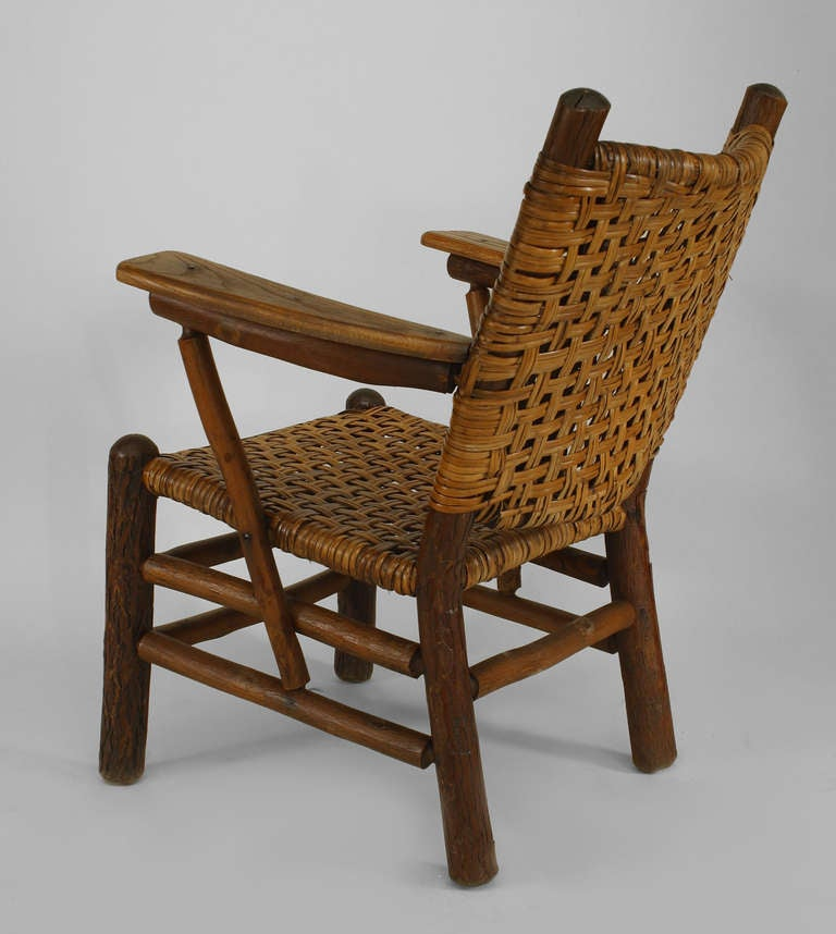 Rustic Old Hickory Arm Chair At 1stdibs