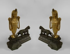 Pair of French Empire Bronze Panther Andirons