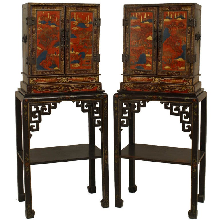 Pair of 19th c. Chinese Lacquered Cabinets