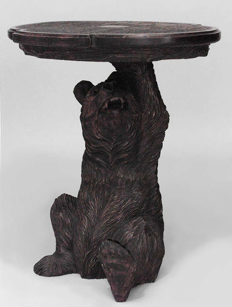 Lovely Black Forest Style Carved Bear End Table 2