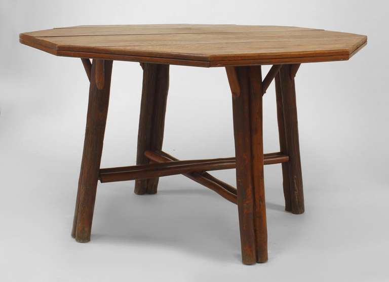 American rustic oak dining table by old hickory co at 1stdibs for 1 oak nyc table prices
