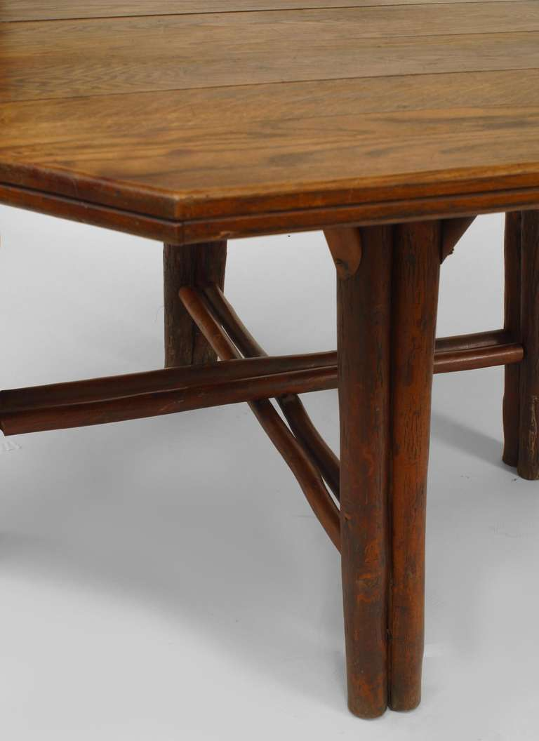 American rustic oak dining table by old hickory co for sale at 1stdibs - Rustic kitchen tables for sale ...