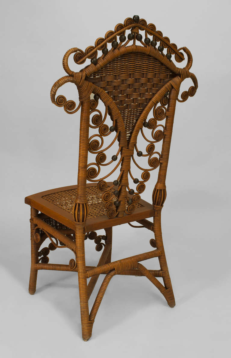 Set of Four 19th Century American Natural Wicker Side Chairs 4