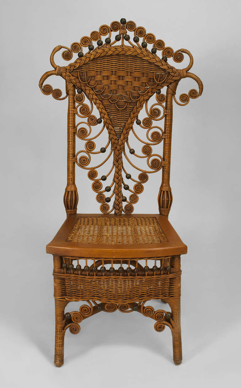 Set of Four 19th Century American Natural Wicker Side Chairs 3