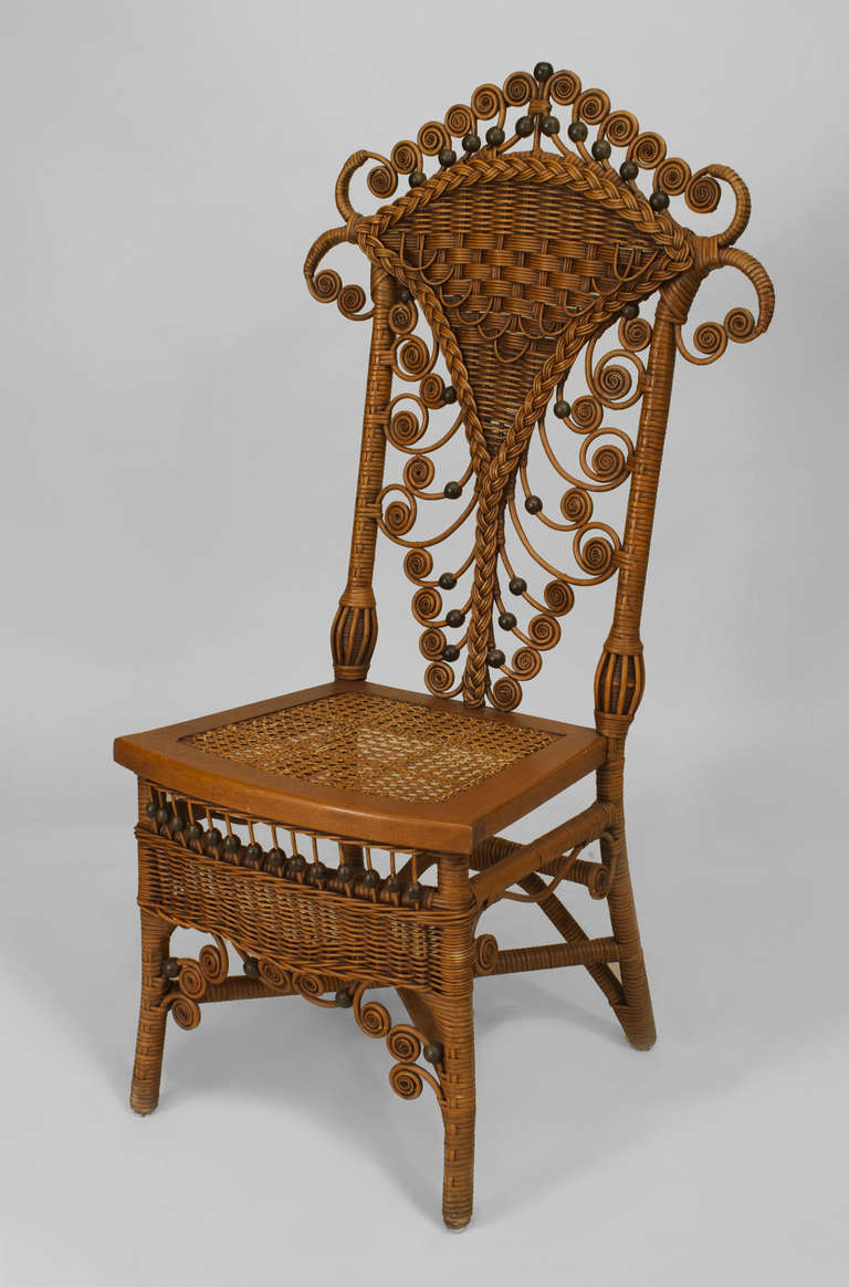Set of Four 19th Century American Natural Wicker Side Chairs 2