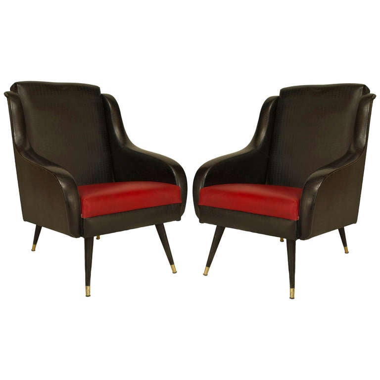 Pair of 1950's French Black and Red Upholstered Armchairs
