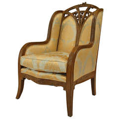 French Art Nouveau Carved Bergere by Louis Majorelle
