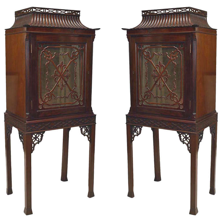 Pair of Turn of the Century Chinese Chippendale Style Curio Cabinets
