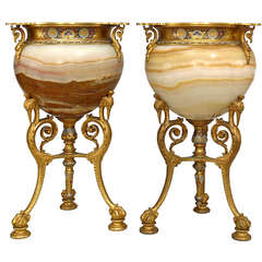 Pair of 19th Century French Onyx and Bronze Dore Mounted Urns