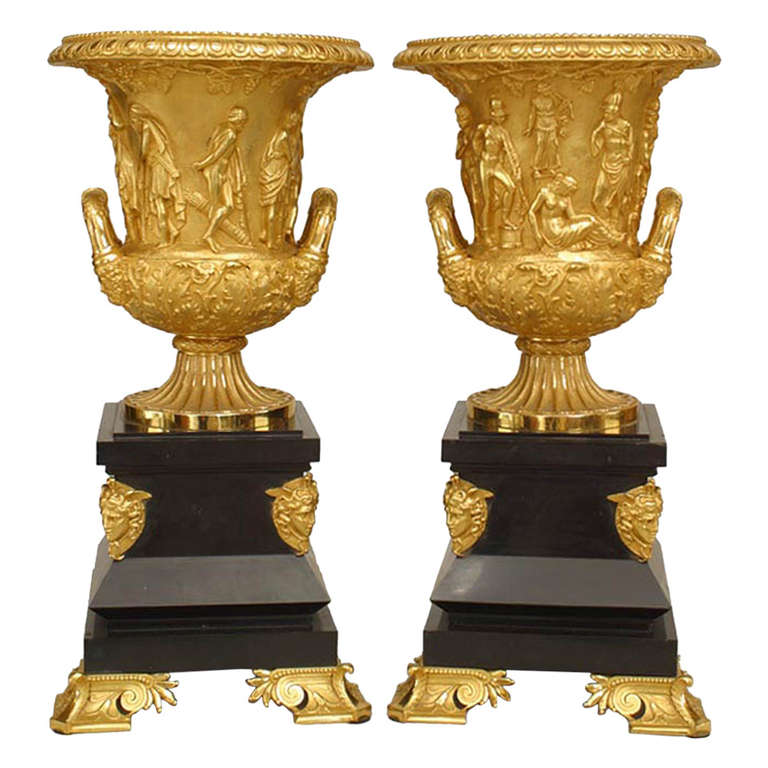 Pair Of French Empire Style Ormolu Vases After The Medici Vase At