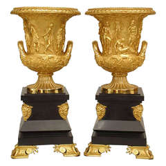 Pair of French Empire Style Ormolu Vases after the Medici Vase