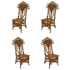 Set of Four 19th Century American Natural Wicker Side Chairs