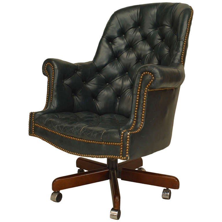 19th Century English Blue Tufted Leather Swivel Chair For
