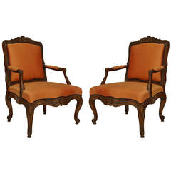 Pair of 19th Century French Louis XV Style Armchairs