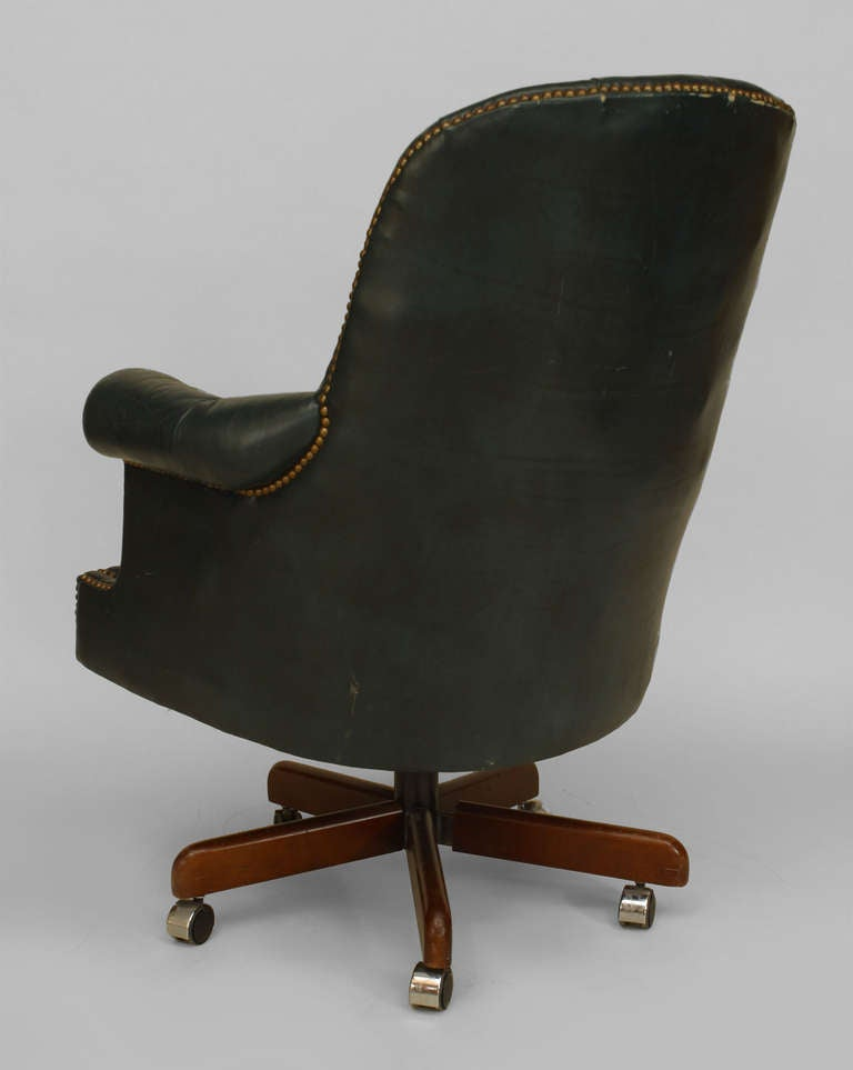 19th century english blue tufted leather swivel chair at 1stdibs