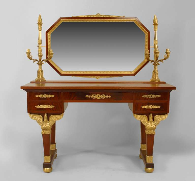 19th c. French Empire Gilt Bronze and Mahogany Dressing Table In Good Condition For Sale In New York, NY