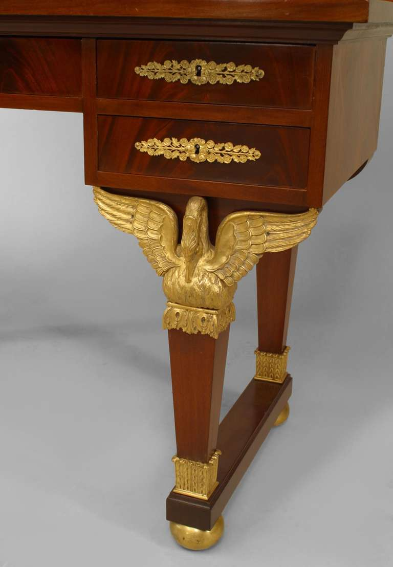 19th Century 19th c. French Empire Gilt Bronze and Mahogany Dressing Table For Sale