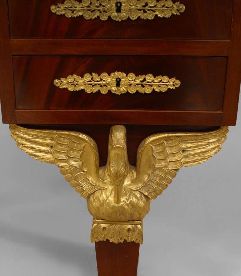 19th c. French Empire Gilt Bronze and Mahogany Dressing Table For Sale 1