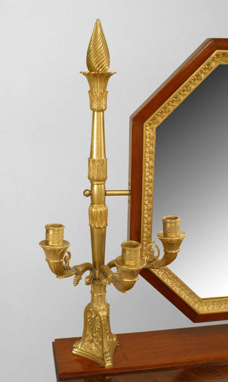 19th c. French Empire Gilt Bronze and Mahogany Dressing Table For Sale 3