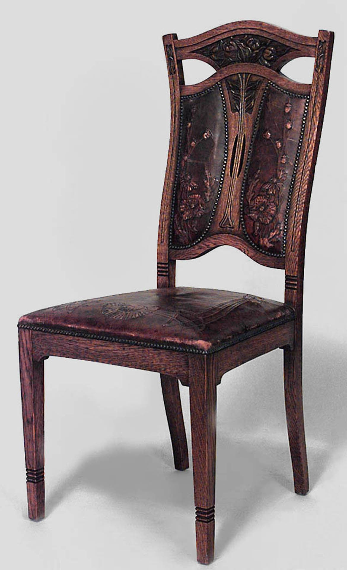 Set of Eight 8 Belgian Art Nouveau Oak and Leather Dining Chairs