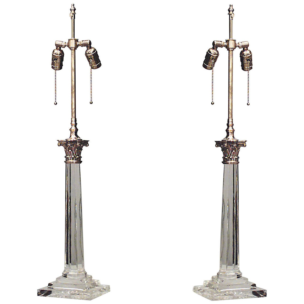 Pair of 20th c english georgian style crystal column table lamps english georgian style crystal column table lamps for sale aloadofball Choice Image