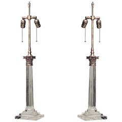 Pair of 20th c. English Georgian Style Crystal Column Table Lamps