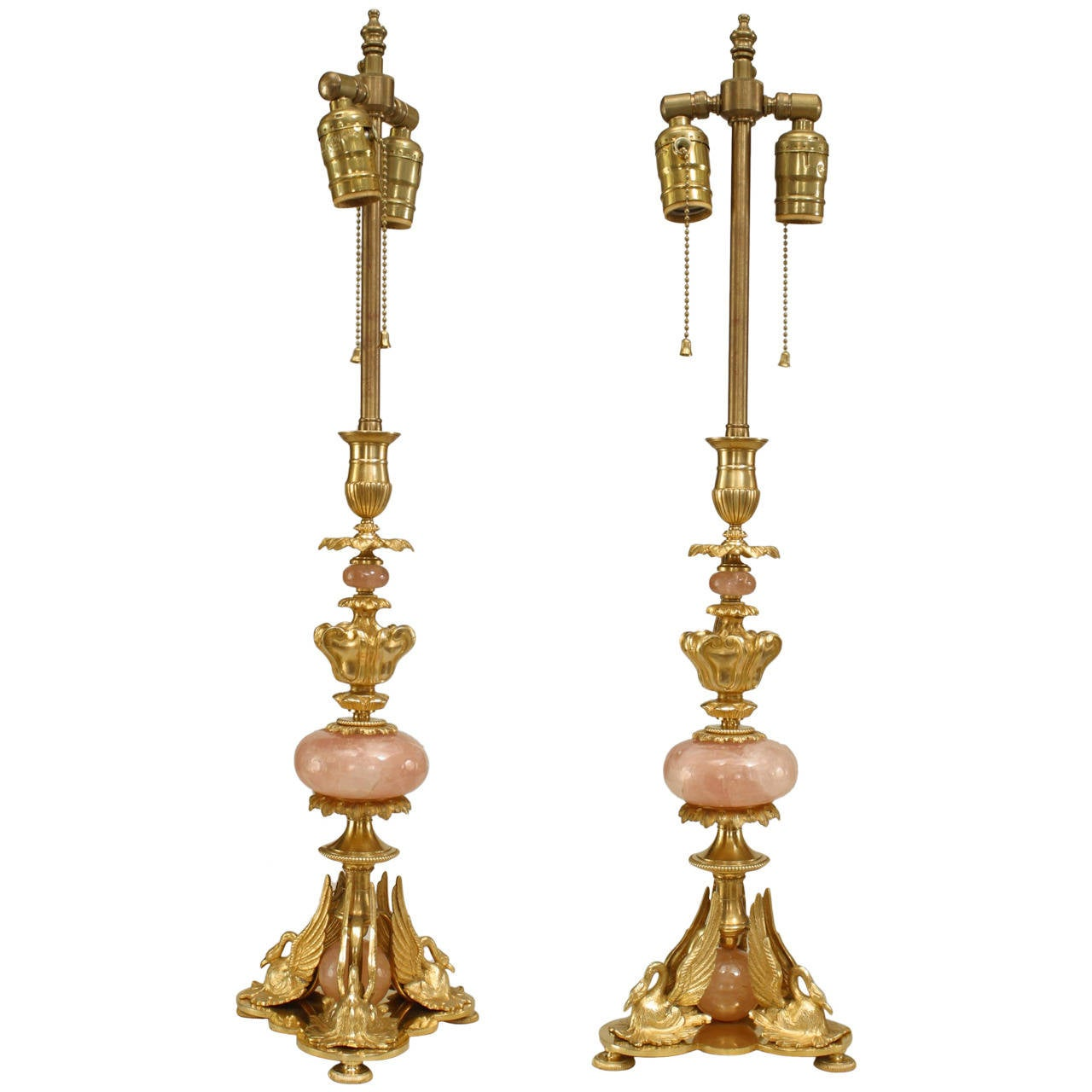 Pair of 1940's French Empire Style Gilt Bronze & Rose Quartz Table Lamps