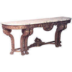 Late 19th c. French Louis XVI Style Marble & Giltwood Console