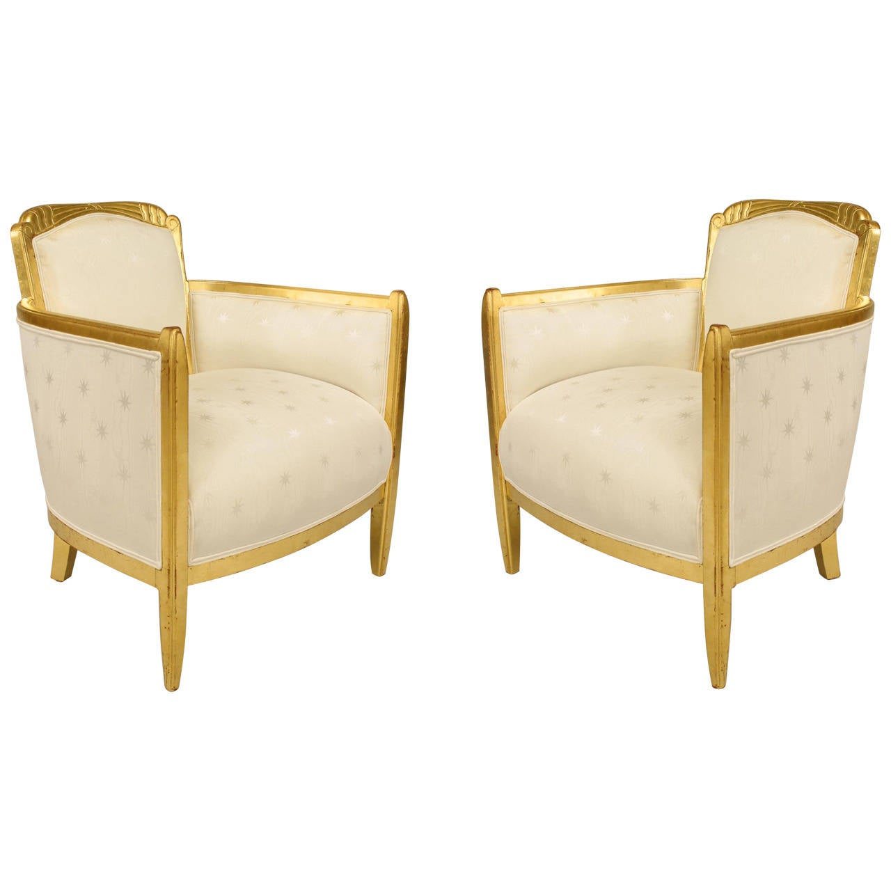 French Art Deco Three-Piece Upholstered Giltwood Salon Set