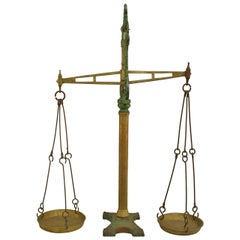 19th Century American Green-Painted Iron Scale
