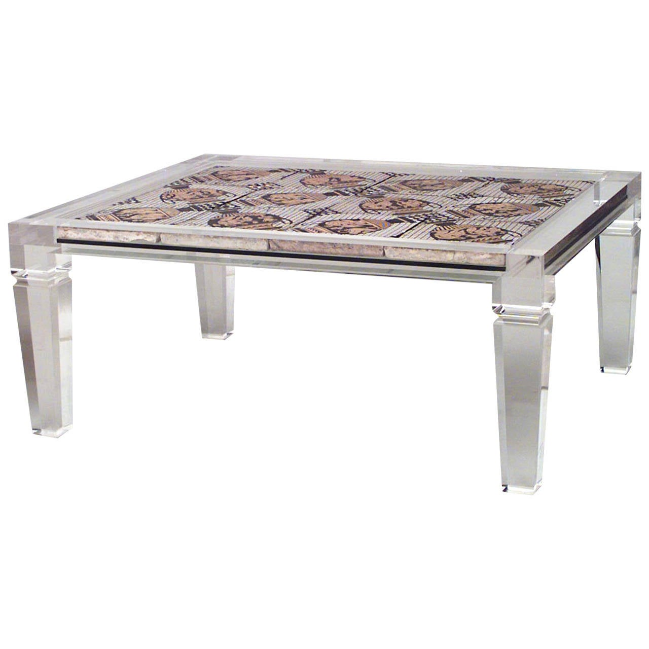 1940s French Mosaic And Lucite Coffee Table Attributed To Maison Jansen For Sale At 1stdibs