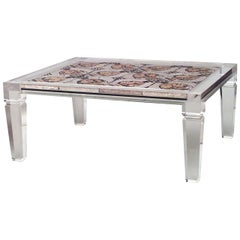 1940s French Mosaic and Lucite Coffee Table, Attributed to Maison Jansen