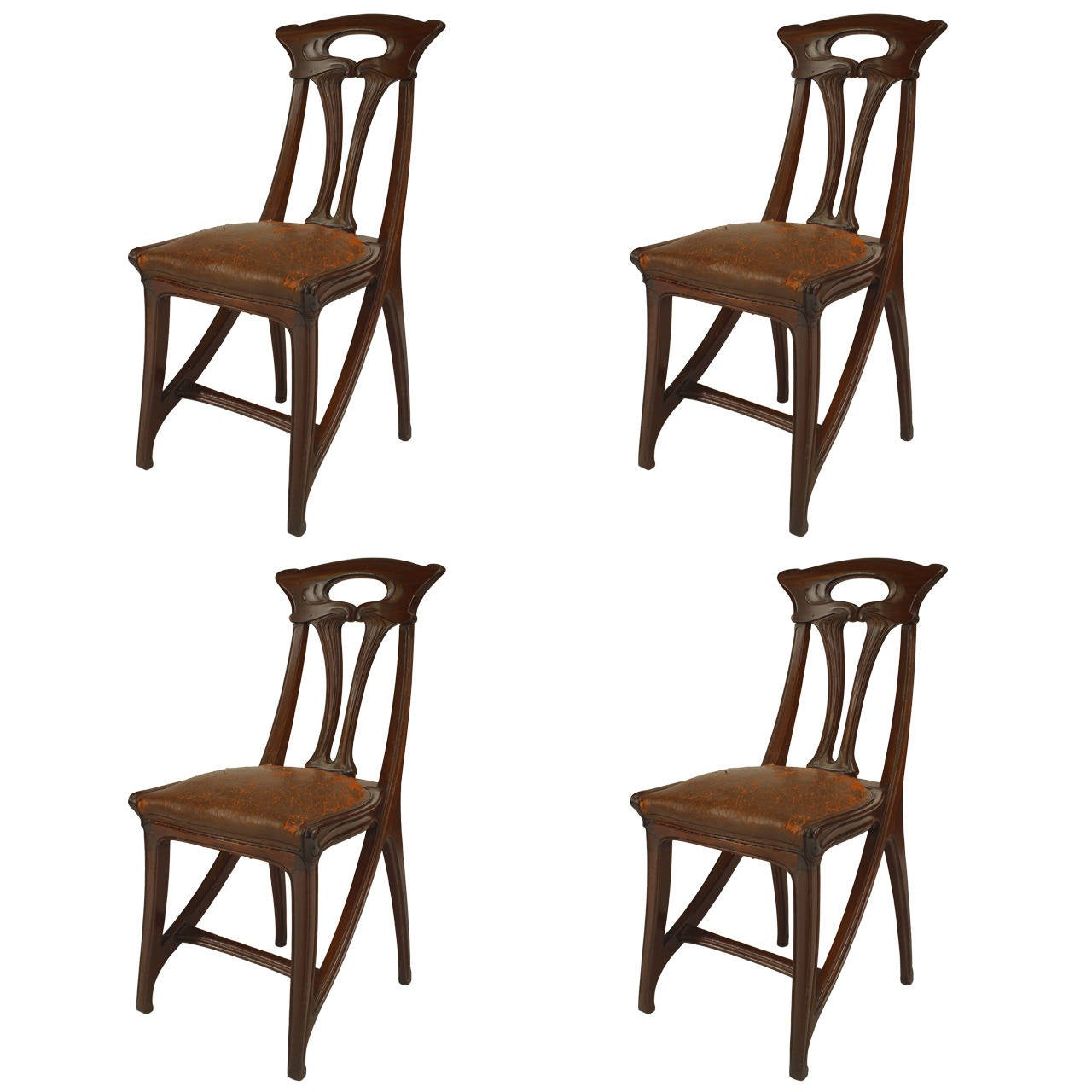 Rare original beech stained chair by eugene gaillard circa 1900 at - Set Of Four French Art Nouveau Walnut And Leather Side Chairs By Gaillard 1