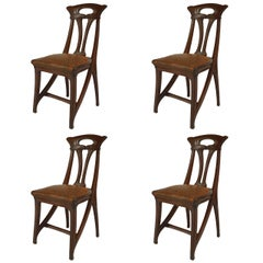 Set of Four French Art Nouveau Side Chairs by Gaillard