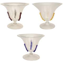 Three (3)  1920's Italian Rigadin Ritorto Murano Glass Compotes
