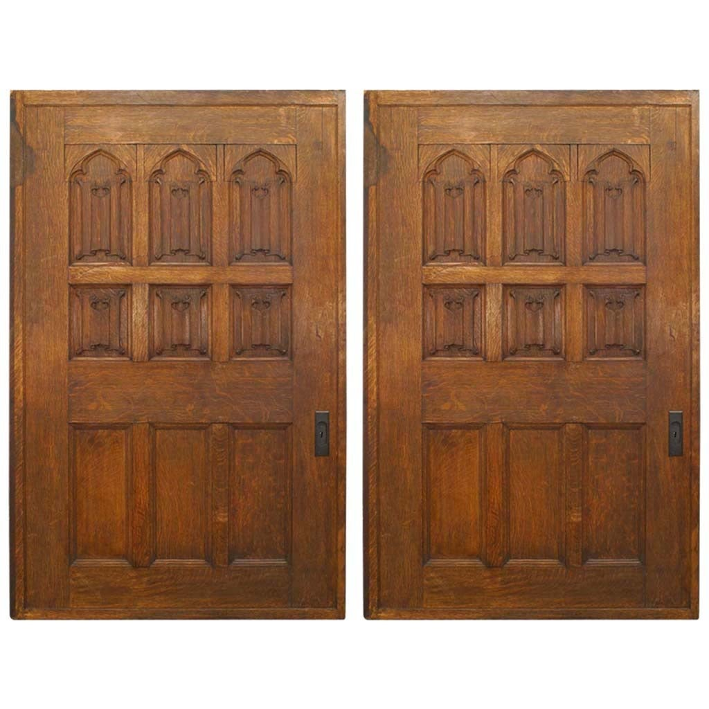 Pair of 19th Century English Gothic Revival Carved Oak Pocket Door Panels
