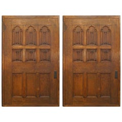 Pair of English Victorian Gothic Oak and Mahogany Doors