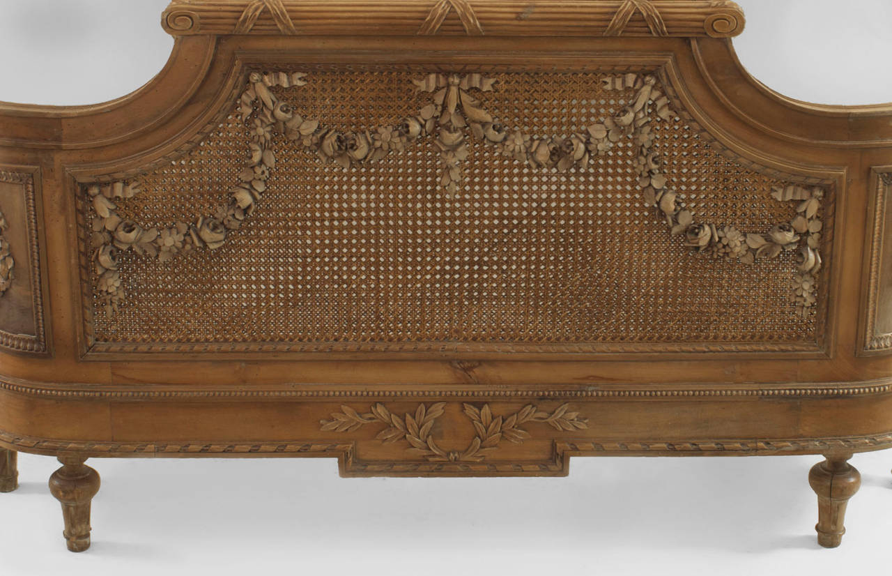 Turn of the century furniture - Turn Of The Century French Louis Xvi Style Carved Walnut And Cane Bed 2