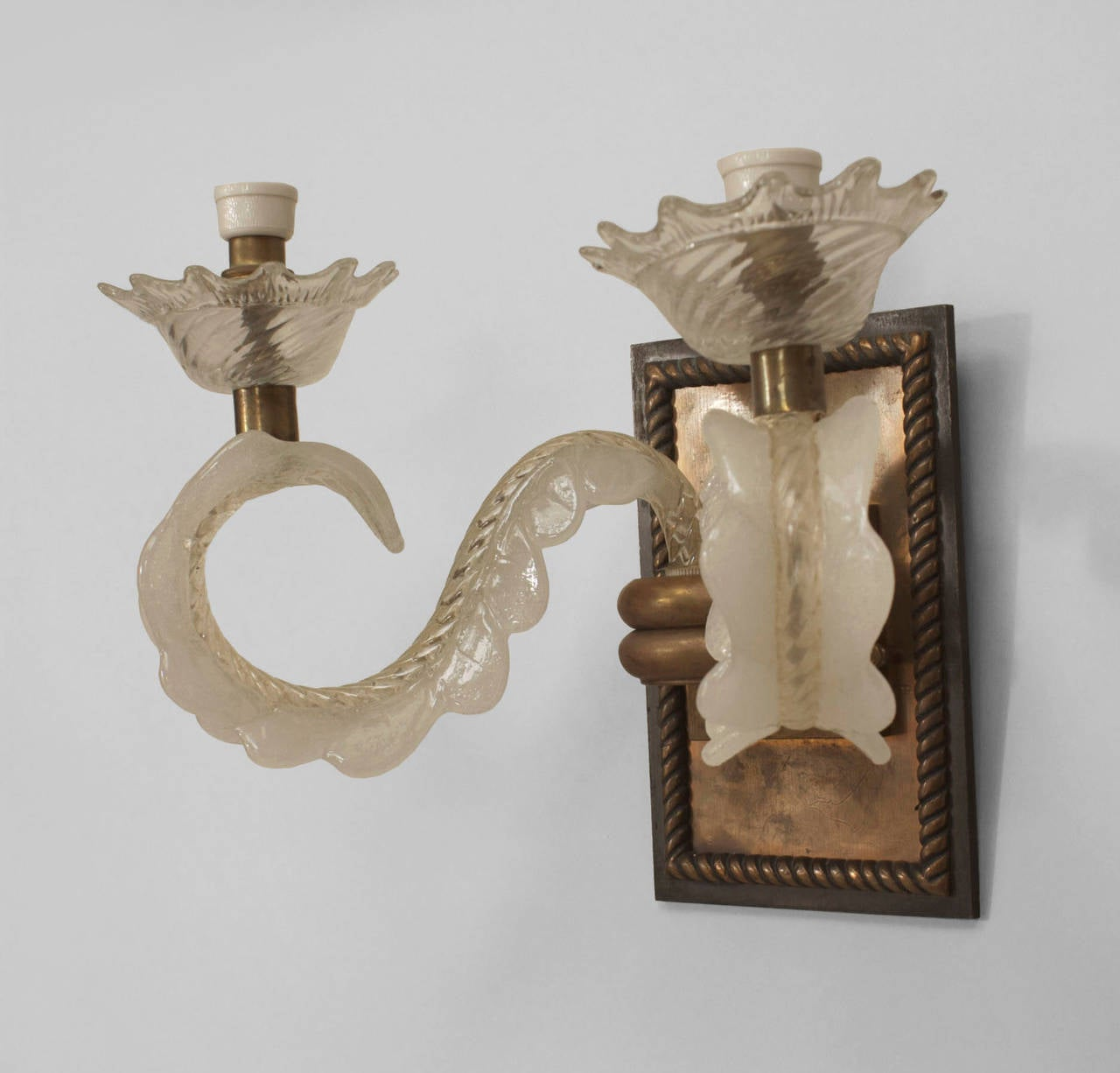 Italian Glass Wall Sconces : 1940s Italian Bronze and Murano Glass Wall Sconce For Sale at 1stdibs